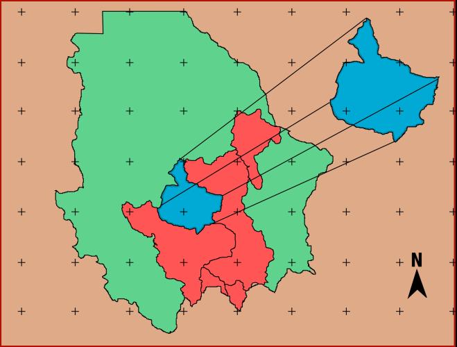 La cuenca del río San Pedro se muestra en azul y la cuenca del río Conchos en rojo